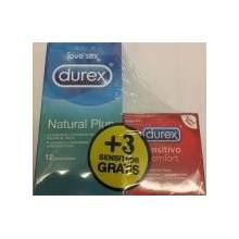 Durex natural plus 12 unid + durex sensitivo comfort 3 unid