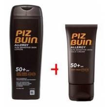Piz buin loción allergy spf50+ 200ml+ piz buin crema facial allergy spf50+ 50ml